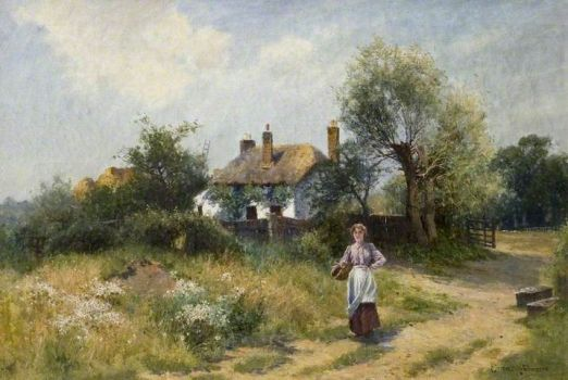 Landscape with Woman & Cottage by Ernest Walbourne