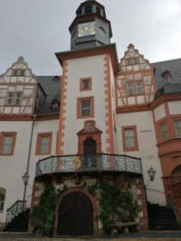 One entrance to Castle Weilburg in Hesse, Germany