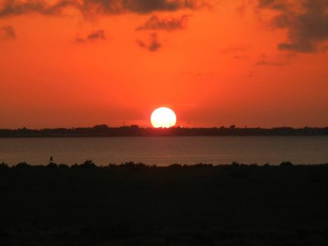 Sunset beyond the Laguna Madre, North Padre Island, TX