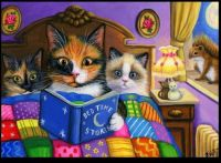 ~Kittens  listening intently to bedtime stories ~