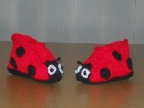 my hand knitted ladybird booties