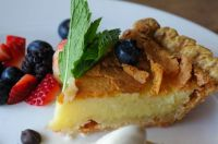 Buttermilk Pie with Pecan Brittle