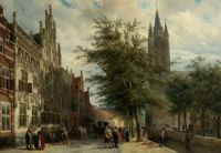 "The ""Gemeenlandshuis and the Old Church"" Delft ~ Summer ~ (1877) Cornelis Springer"