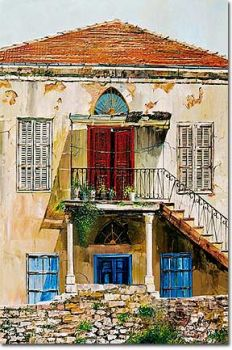 painting: old lebanese house