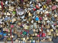 Padlocks on Paris bridge