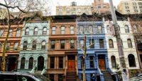 Colorful brownstones
