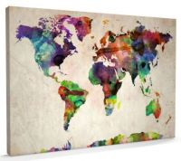 World map water canvas.