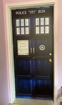 Dr. Who Tardis Decal from garage into house