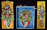 Mixed Media Floral Panels by Artist Silvia Logi