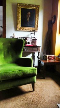 Green armchair...