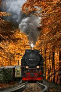 Autumn - A steam train climbing up the Harz mountains, Germany