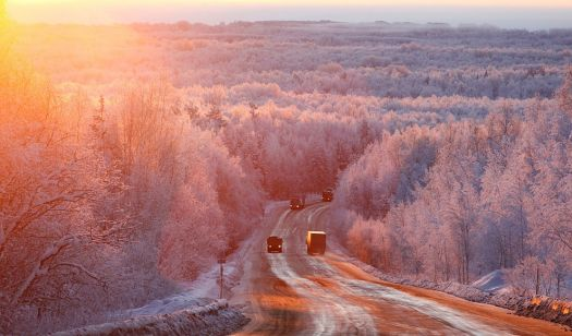 Dawn - at minus 27C on the Highway to Mongolia...