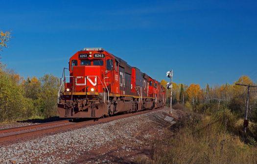 Duluth Missabe & Iron Range(CN) empty ore train Fayal, MN. October 10, 2017