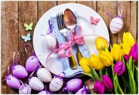 Easter Plate with Eggs and Tulips