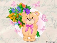 PUZZLE - Teddy And Flowers For His Mum