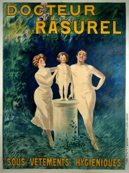 "Poster - A family demonstrating underclothes sold by ""Docteur Rasurel"""