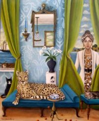 Four Cats and a Lady