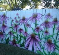 Purple flower painted fence