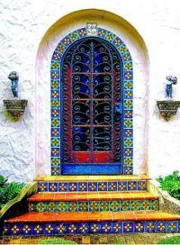 Door and steps in tiles