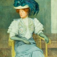 Portrait of women with green feather hat and lace