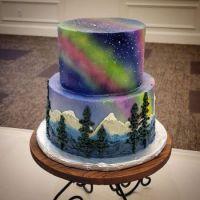 Northern lights wedding cake