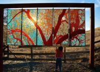 Oak Tree Mosaic - glass on glass panels