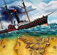 Painting of Ship of Gold  Sinking in a Storm