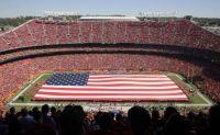 American Flag at Kansas City Chiefs Arrowhead Football stadium