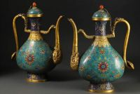 A pair of Chinese Cloisonné Ewers