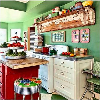 Cute Kitchen in Red and Green