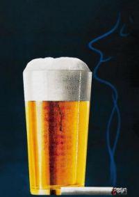 Beer and Cigarette Vintage Poster
