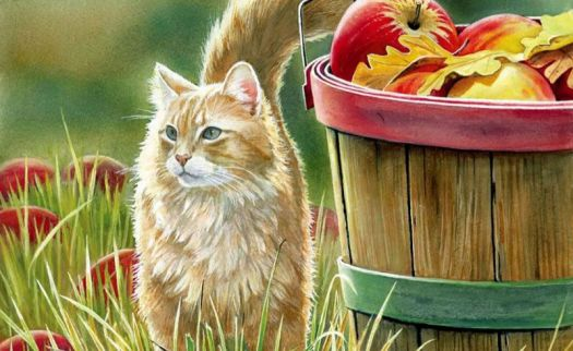 Bourdet - Cat and Basket of Apples
