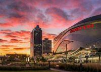 Beautiful sunset in downtown Edmonton, Alberta