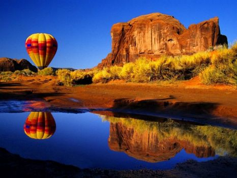 autumn balloon reflection