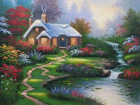 Cottage by the stream