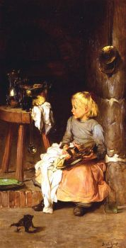 Claude Joseph Bail (1862 - 1921) - The Little Girl with the Cauldron