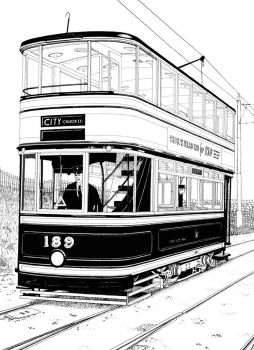 A drawing I did of a Sheffield Tram, in 1976