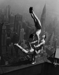 1934 acrobats balance on top of the Empire State Bldg