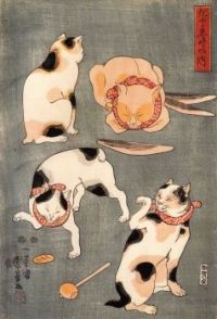Kuniyoshi Utagawa: Four Cats (More Pieces)