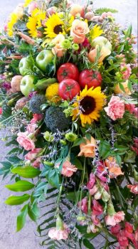 Fruit, veggie, and flower combo