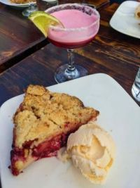 Bumbleberry crumble with a bumbleberry cocktail from Pie Bar in Phinney, Seattle
