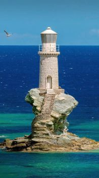 Tourlitis Lighthouse in Chora on Andros Island Cyclades, Greece