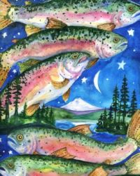 Detroit Lake 2010 - Colorful Rainbow Trout Print