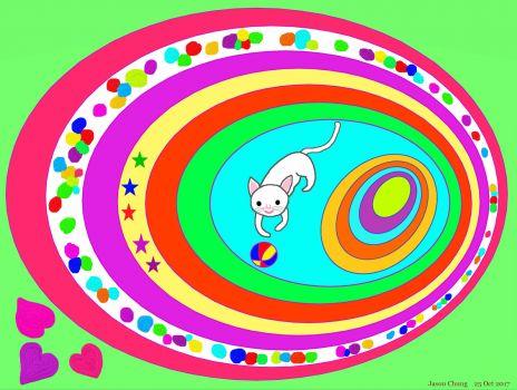 Ovals - A Playful White Cat (Oct17P65)