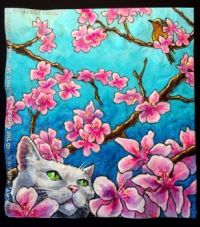 Napkin Art Kitty in Blossoms