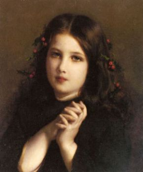 Girl with Holly Berries in Hair by Etienne Adolphe Piot