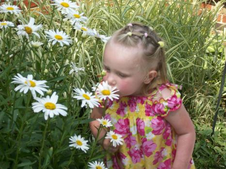 Hayven smelling the daisies