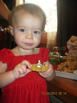 Emma with Christmas cookie