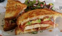 Grilled chicken sandwich on buttered toast with avocado, provolone and bacon