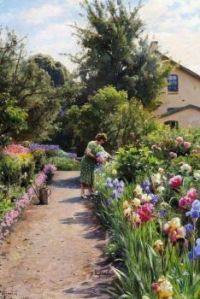 "Peder Mørk Mønsted,  ""Blooming Garden in the Spring"""